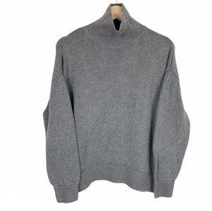 OAK + FORT Women's Cropped Grey Knit Sweater